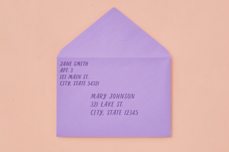 Envelope with the recipient address in the correct place