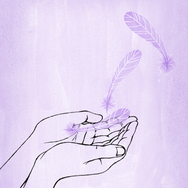Two hands and a feather symbolizing Continuing Grief Support: How to Help Someone Who is Grieving over Time