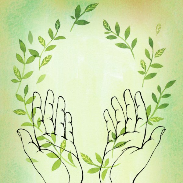 Hands with a wreath of leaves symbolizing Grief Support on Anniversaries, Birthdays and Special Occasions