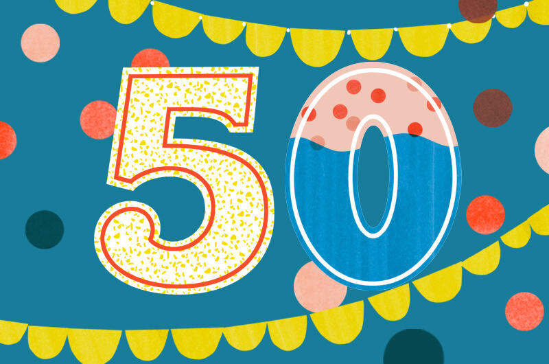 50 drawn with fun birthday designs