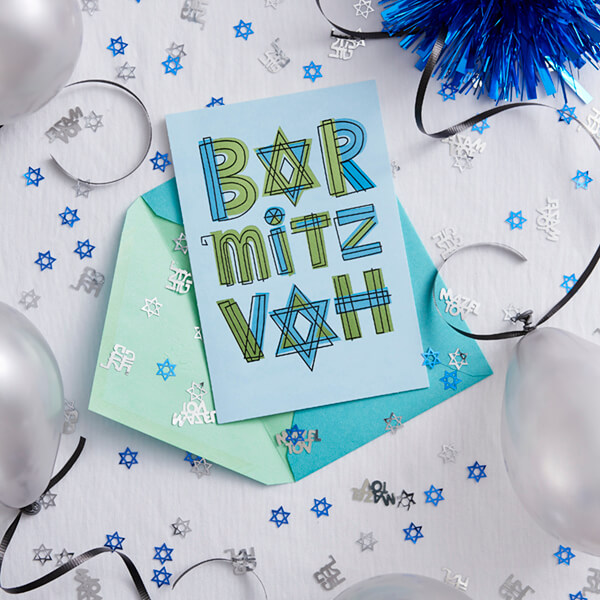 Bat mitzvah card on table