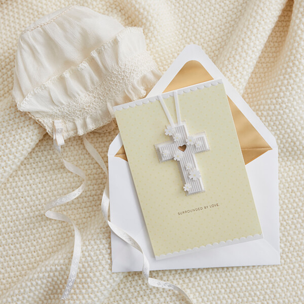 Baptism card with christening hat