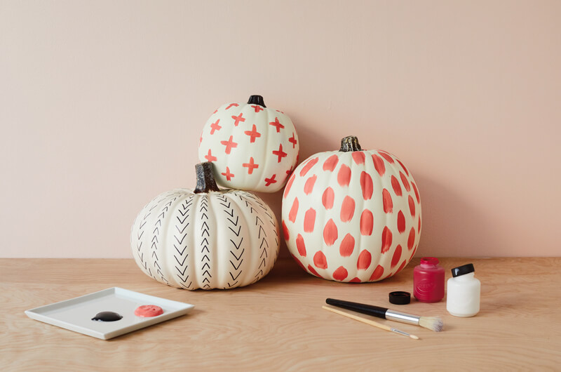 Painted pumpkins with artistic markings