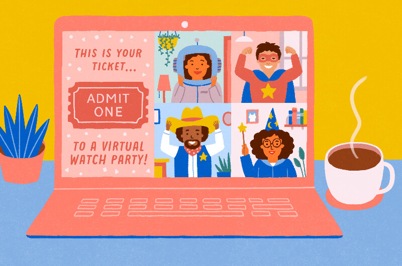invite to virtual watch party on computer screen