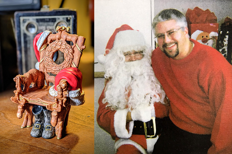 Keepsake ornament, dad in Santa costume and son
