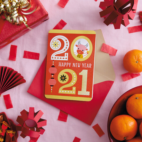 Chinese Lunar New Year Card with Red Envelope and oranges