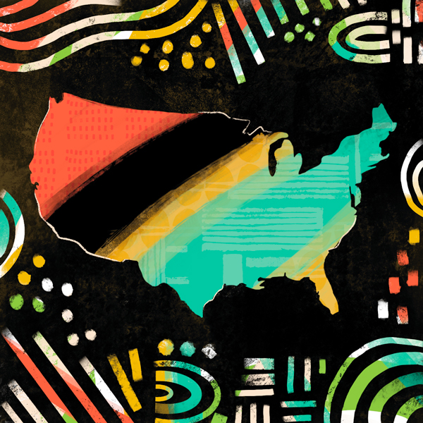 USA map wih African-American-inspired colors - Celebrate Black History Month