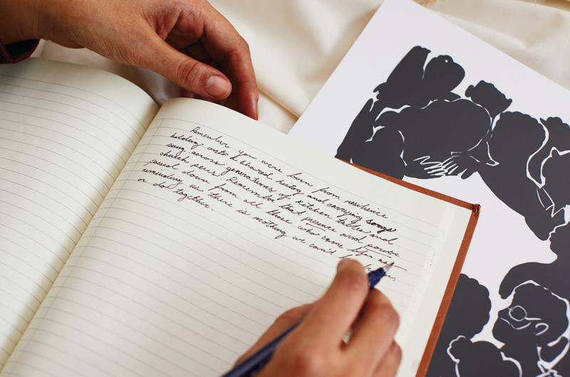 Writer's notebook with art