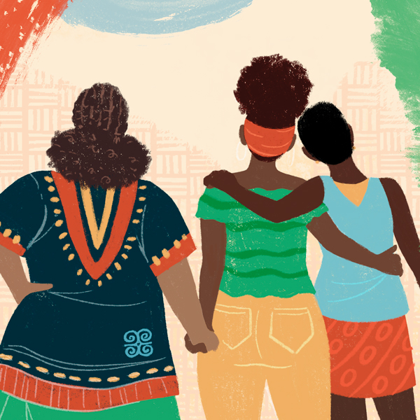 Three Black women supporting each other