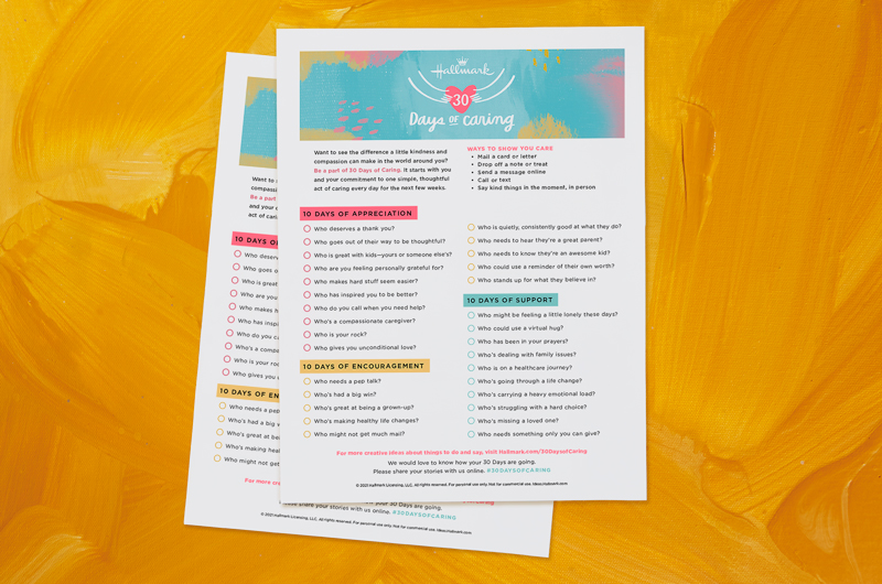 30 Days of Caring printables