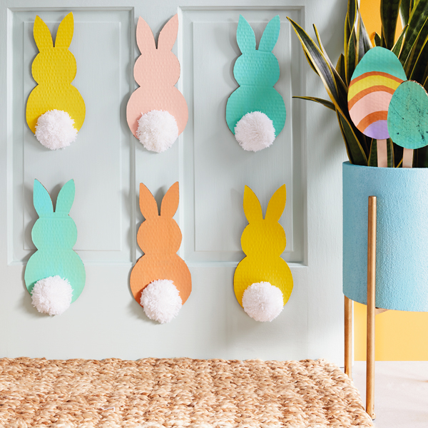 Easter bunny cutouts on a door