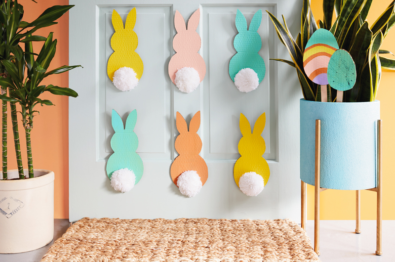 Easter decor in brightly lit room