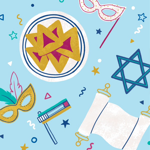 Purim symbols on a blue background