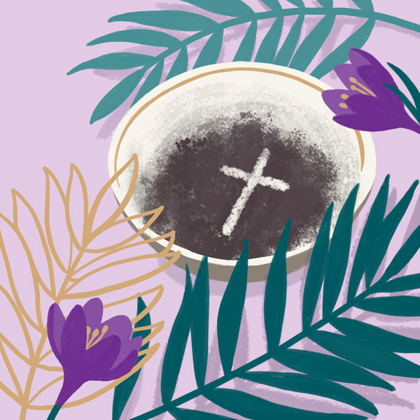 Bowl of ashes with a cross in them surrounded by palms for Lent