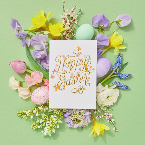 Happy Easter Card with flowers and eggs