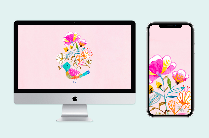 Flower wallpapers on desktop and phone