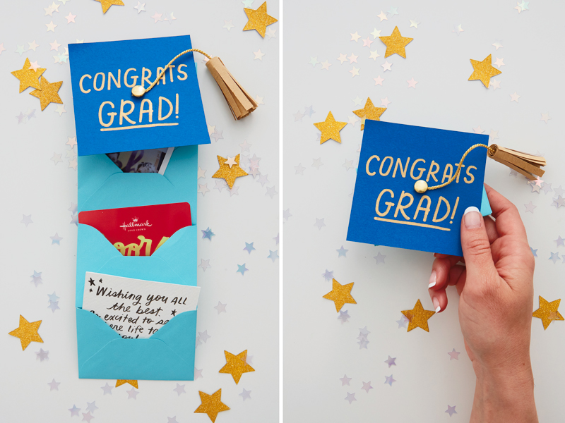 Graduation gift card holder with gift cards and gift card holder with hand