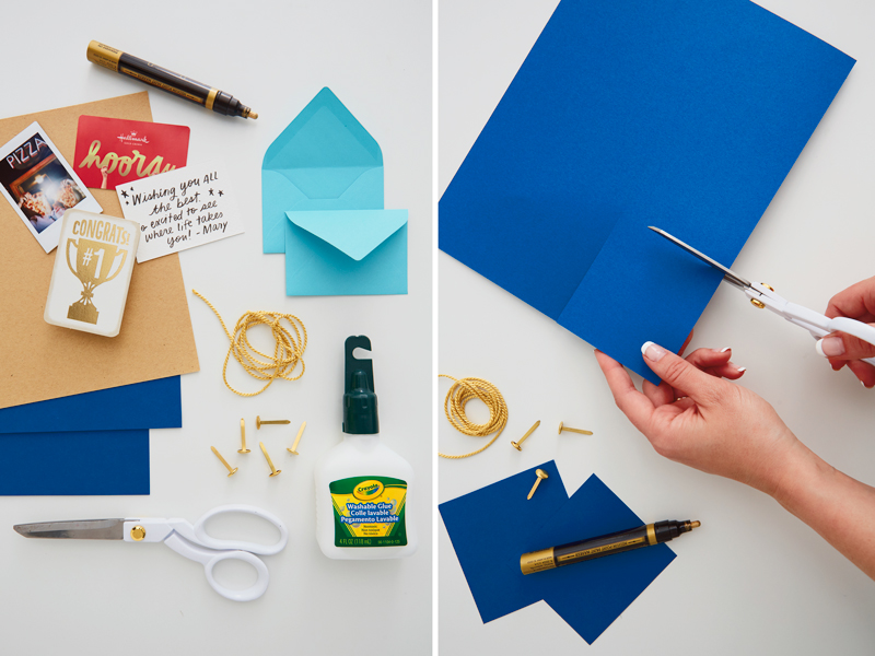 The supplies for making a gift card holder and cutting a gift card holder