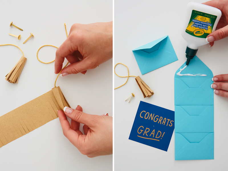 Making a gift card holder with tassel, envelopes and glue