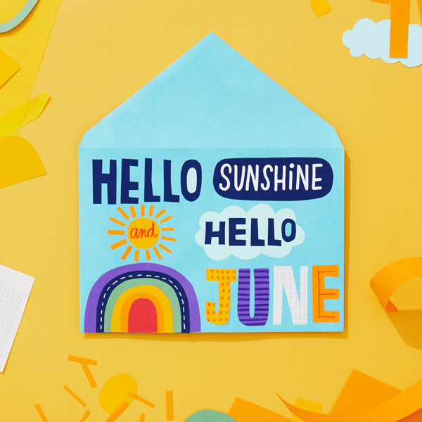 Hello Sunshine Hello June on an envelope