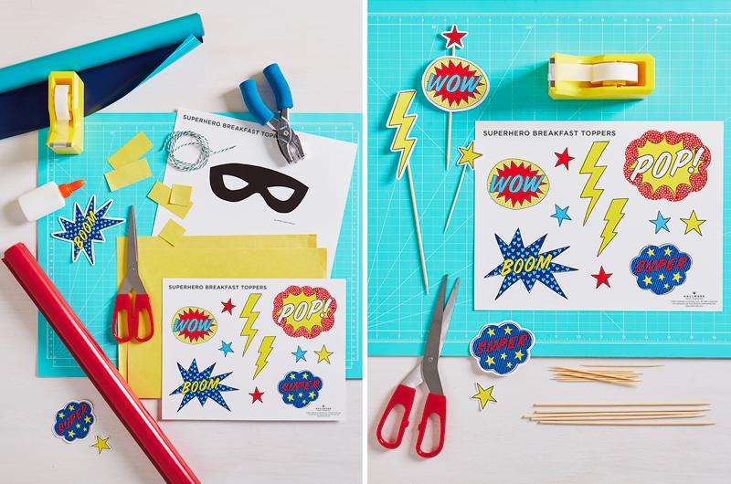 Superhero printable on craft table with supplies