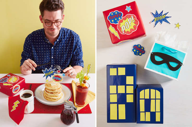 Dad with superhero printable and breakfast (left) Father's day gifts on table (right)