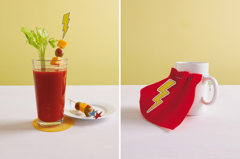 Bloody Mary with superhero printable (left) coffee with superhero cape (right)