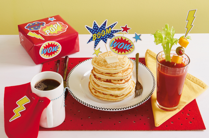 Superhero breakfast for dad on Father's Day