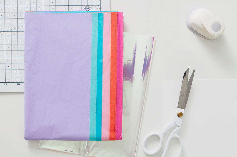 tissue paper on a craft table