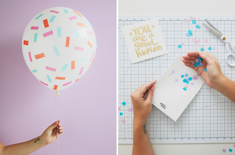 confetti in a balloon (left) confetti on a table with hands and envelope (right)
