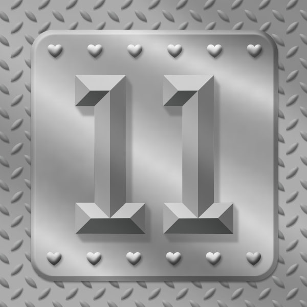 Number 11 with symbols for steel [Anniversary Gifts by Year]
