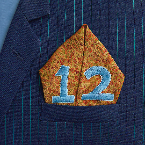 Number 12 with symbols for silk and linen [Anniversary Gifts by Year]