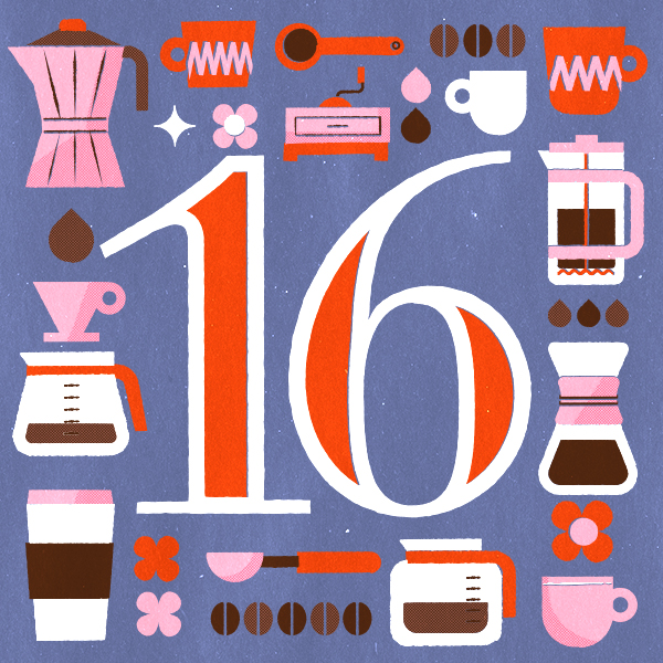 Number 16 with symbols for coffee and tea [Anniversary Gifts by Year]