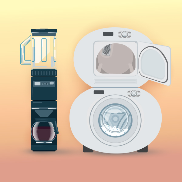 Number 18 with symbols for appliances [Anniversary Gifts by Year]