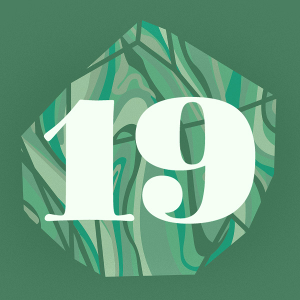 Number 19 with symbols for jade [Anniversary Gifts by Year]