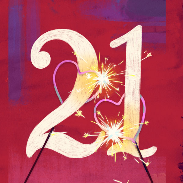 Number 21 with symbols for fire [Anniversary Gifts by Year]