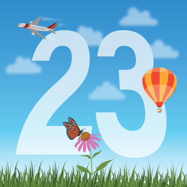 Number 23 with symbols for air [Anniversary Gifts by Year]