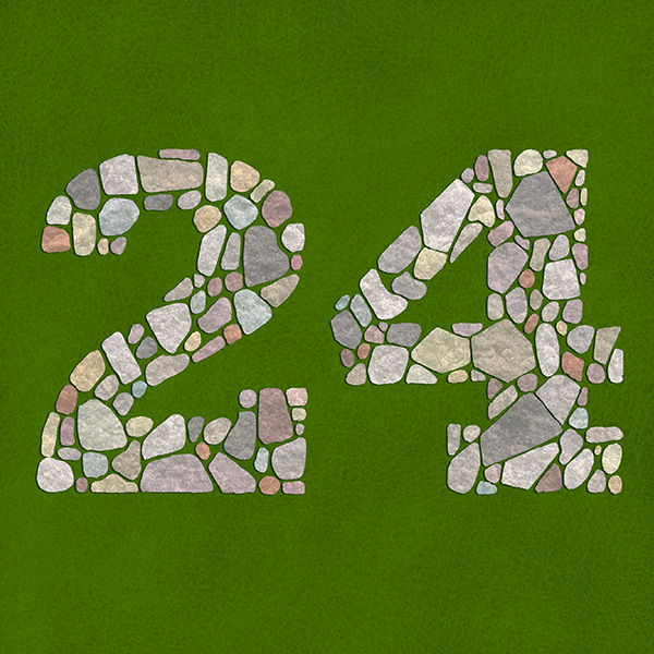 Number 24 with symbols for stone [Anniversary Gifts by Year]