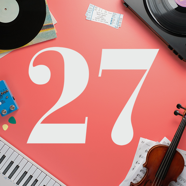 Number 27 with symbols for music [Anniversary Gifts by Year]