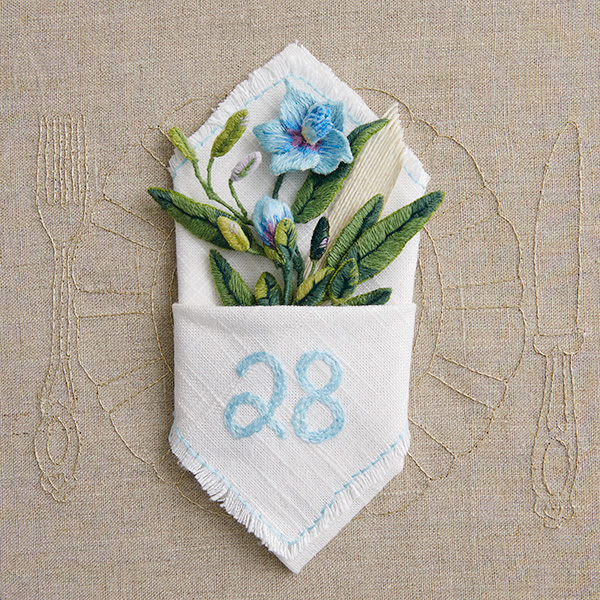 Number 28 with symbols for linens [Anniversary Gifts by Year]