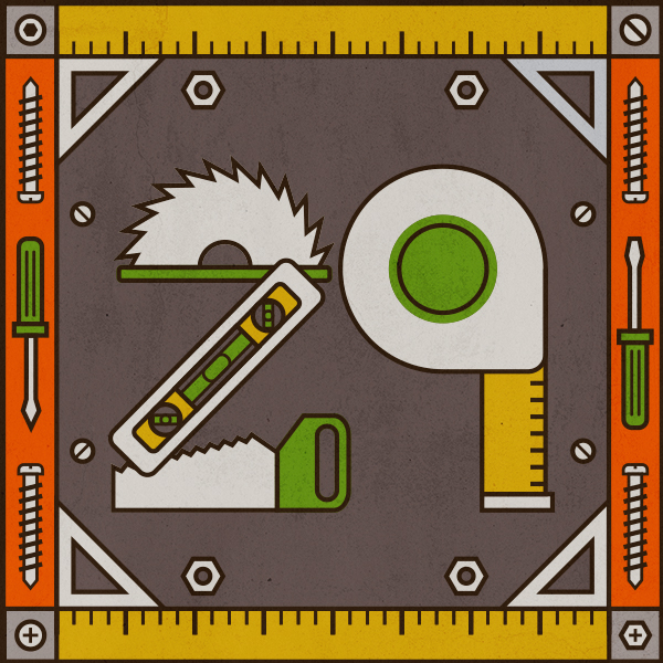Number 29 with symbols for tools[Anniversary Gifts by Year]