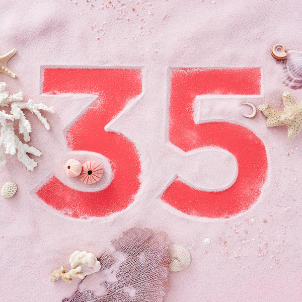 Number 35 with symbols for coral [Anniversary Gifts by Year]