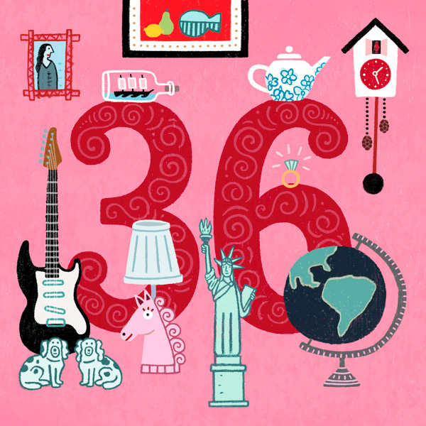 Number 36 with symbols for antiques [Anniversary Gifts by Year]
