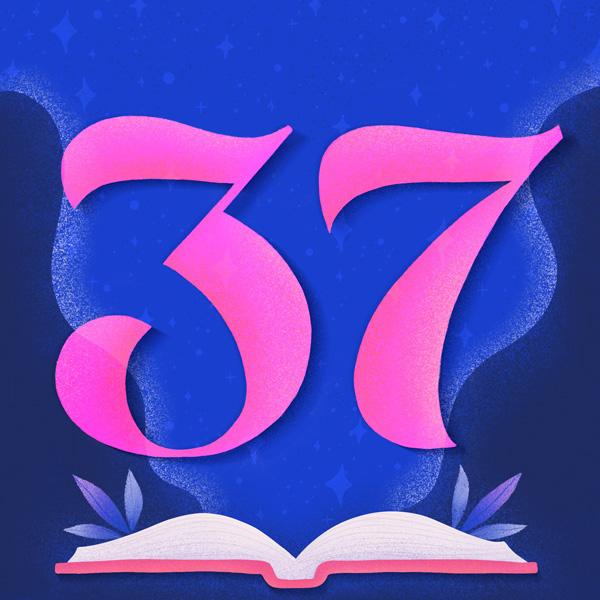 Number 37 with symbols for books [Anniversary Gifts by Year]