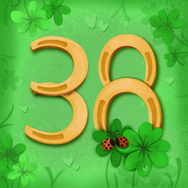 Number 38 with symbols for luck [Anniversary Gifts by Year]