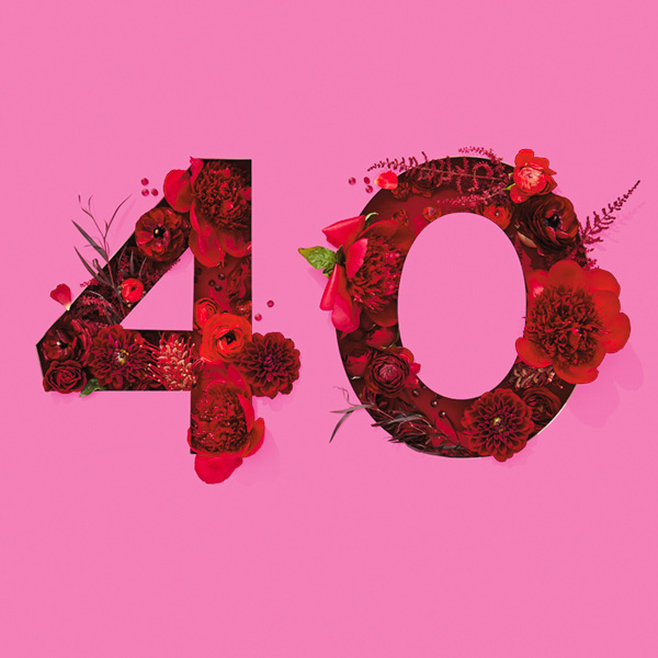 Number 40 with symbols for ruby [Anniversary Gifts by Year]