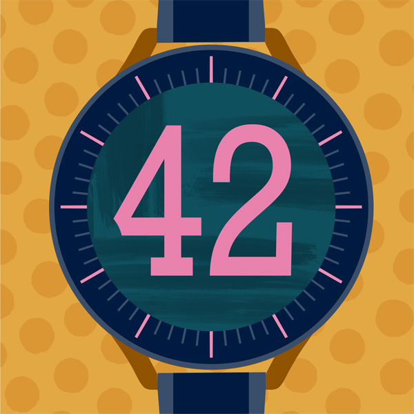 Number 42 with symbols for clocks and watches [Anniversary Gifts by Year]