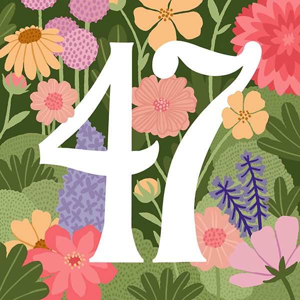 Number 47 with symbols for gardens and plants [Anniversary Gifts by Year]