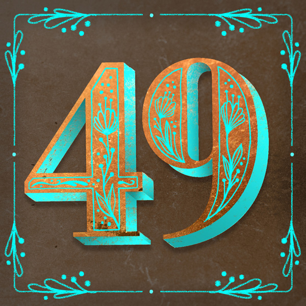 Number 49 with symbols for copper [Anniversary Gifts by Year]