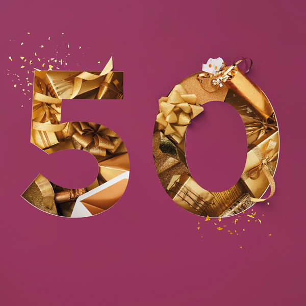Number 50 with symbols for gold [Anniversary Gifts by Year]